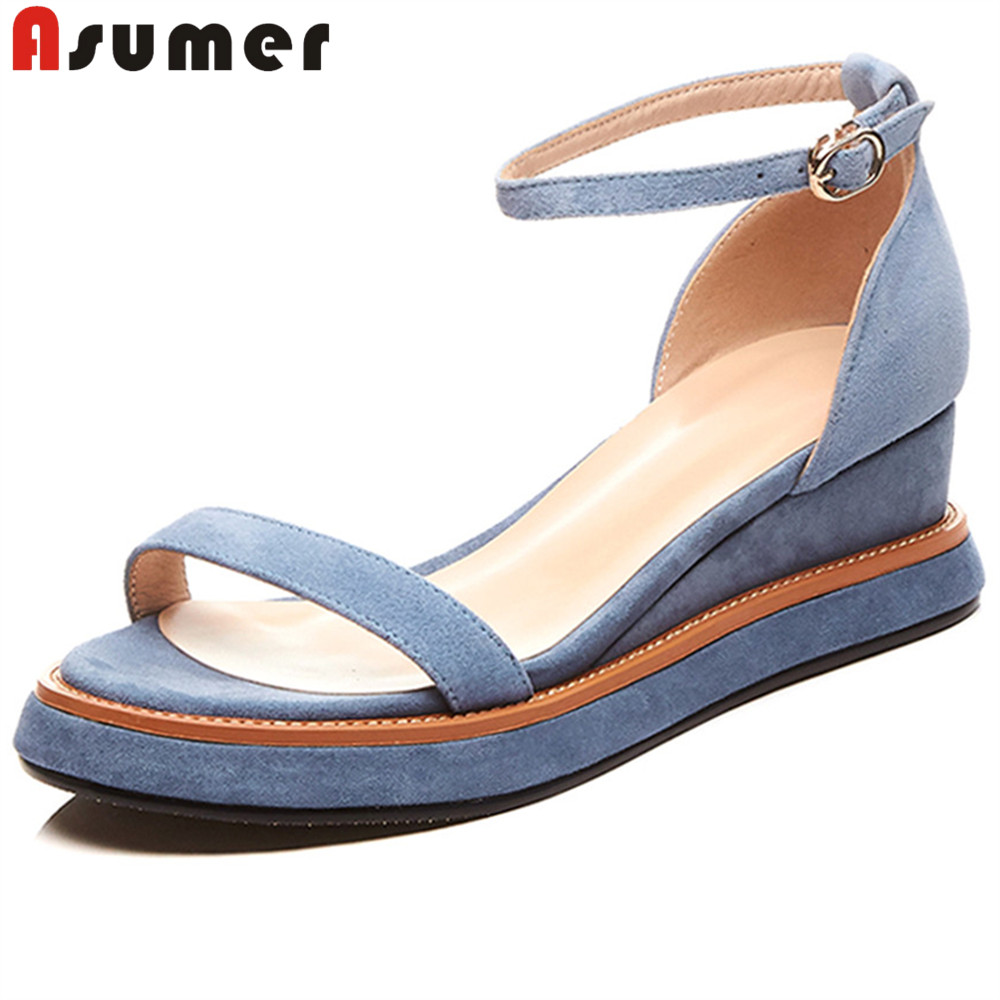 ASUMER 2018 fashion summer new shoes woman buckle sandals women platform wedges shoes casual comfortable suede leather shoes women s shoes 2017 summer new fashion footwear women s air network flat shoes breathable comfortable casual shoes jdt103