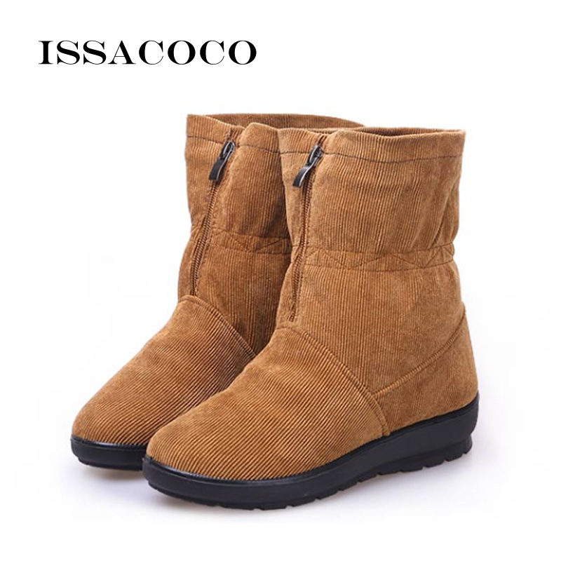 ISSACOCO New Snow Boots Winter Women  Shoes Antiskid Waterproof Womens Girl