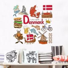 Denmark Illustration Travel The Word Landmark Wall Sticker Wedding Decor Vinyl Waterproof Wall Sticker Wallpaper Decal