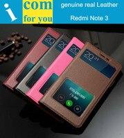 Genuine natureza real Tampa Da Caixa de Couro Para Xiaomi Redmi Nota 3 Pro 5.5 de polegada Janela resposta de Slides Flip Book Carteira bolsa Note3