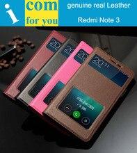 Подлинный реальный характер Кожаный Чехол Для Xiaomi Redmi Note 3 Pro 5.5 дюймов Окна Слайд ответ Флип Книга Бумажник сумка Note3