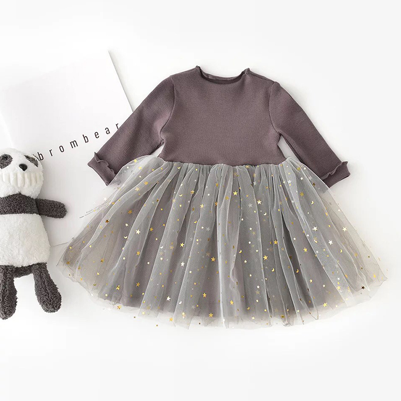 HTB1oWKlXPzuK1RjSspeq6ziHVXaz Winter Kids Dresses For Girls Long Sleeve Children Clothing Sequins Stars Tutu Girls Casual School Wear Princess Party Dress