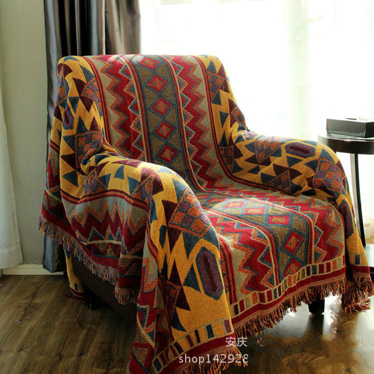 ผ้าฝ้ายโบฮีเมียนุ่มสามชั้นข้นผ้าห่มแฟชั่นโยนบนโซฟา/เตียงผ้าห่มตาราง/เครื่องบินผ้าห่มลายปกเปียโน-ใน ผ้าห่ม จาก บ้านและสวน บน   1