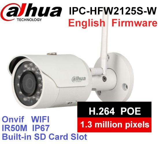 Dahua IPC-HFW2125S-W 1.3MP IP Camera IR50M IP67 built-in WIFI SD Card slot Network outdoor WIFI Camera dahua 4k ipc hfw4830e s ultra hd 8mp built in sd card slot h2 65 ip67 ir 40m poe mini bullet network ip camera