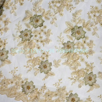 New Ivory Off White Beige Light Blue Pink 3D Flowers Bridal Evinging Show Dress Lace Fabric