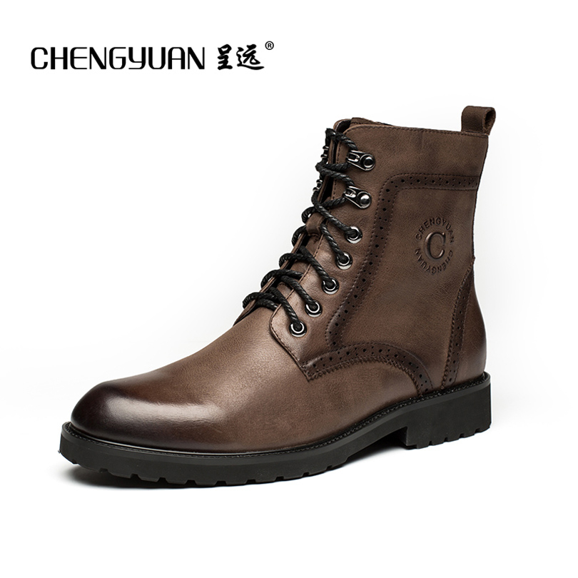 CHENGYUAN Man leather martin boots motorcycle strap short fur barrel BIKER Fashion