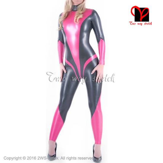 Sexy latex catsuit with back zipper rubber body suit Long sleeves high collar  Jumpsuit overall zentai b61d440e0