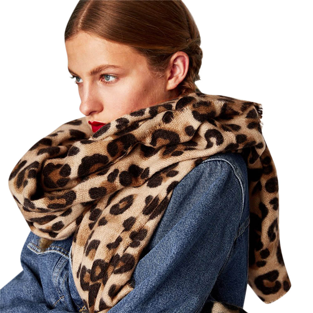 Autumn Winter Leopard Print Cashmere Warm Thicken Scarf Shawl Women Long Wool Shawl Soft Long Neck Scarfs For Ladies Fashionable
