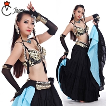 ATS costumes Tribal Belly Dance Clothes for Women 4 Pieces Outfit Set Antique Bronze Beads Bra Belt Skirts Gypsy Costumes