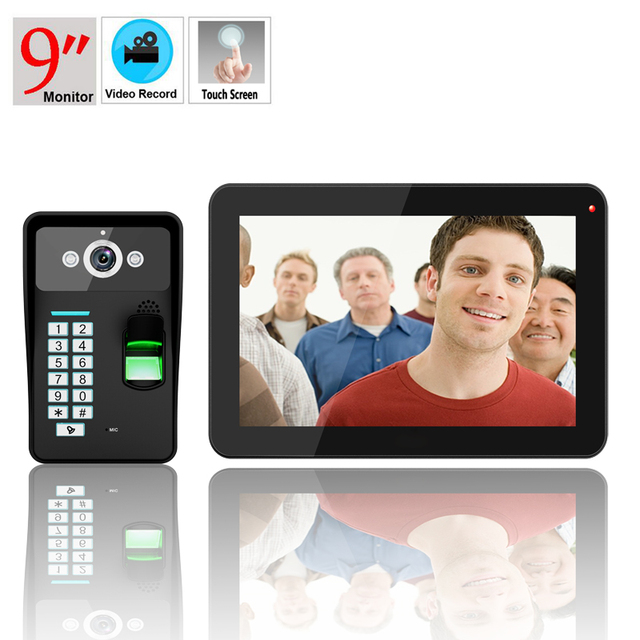 9 Inch RFID Password Keypad Fingerprint Recognition Video Door Phone Doorbell Intercom Door chime with Video Recording