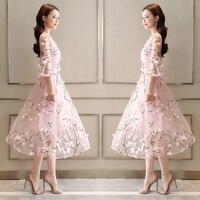 New Arrival 2018 Spring Summer Dress Women Clothing Female Vestidos Fashion Runway Dress Elegant Floral Embroidery Chiffon Dres