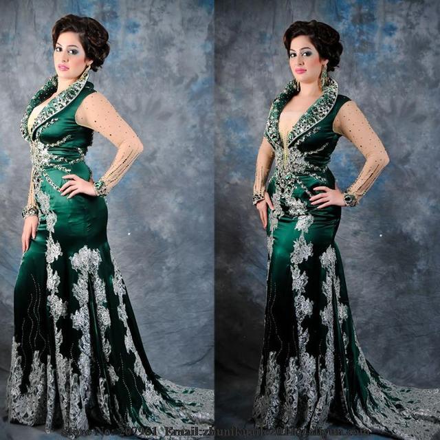 Mermaid Satin Beaded Green Long Sleeve Arabic Dubai Kaftan Turkish Islamic  Evening Dresses 2017 With Appliques Robe De Soiree b2584d40369e