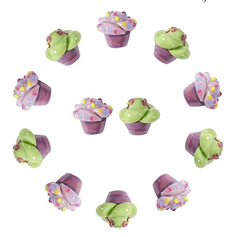 Perles de verre au chalumeau cahoteuses faites à la main pour accessoires de fabrication de bijoux, couleur mélangée, 17x15mm, trou: 2mm; environ 12 pièces/boîte F70
