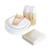 200 pieces of rose gold plate and sparkling paper and rose gold cup, advanced disposable tableware set including: 25 plates