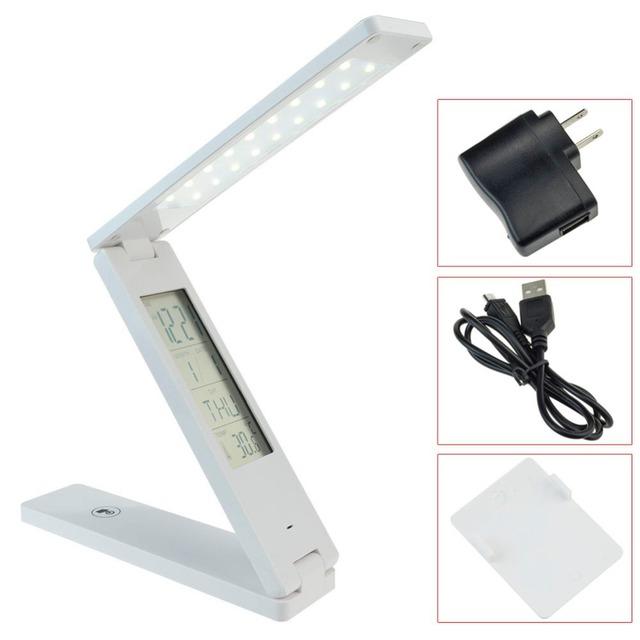 Olhos proteção levou a ler lâmpada de mesa de mesa dobrável recarregável regulável Touch Control com termômetro Digital de calendário alarme