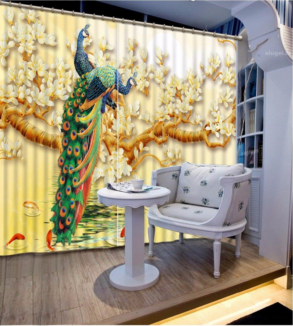 Personnalisé toute taille 3D rideau occultant ombre fenêtre rideaux Magnolia paon salle de bain rideau Minions fenêtre rideau chaîne