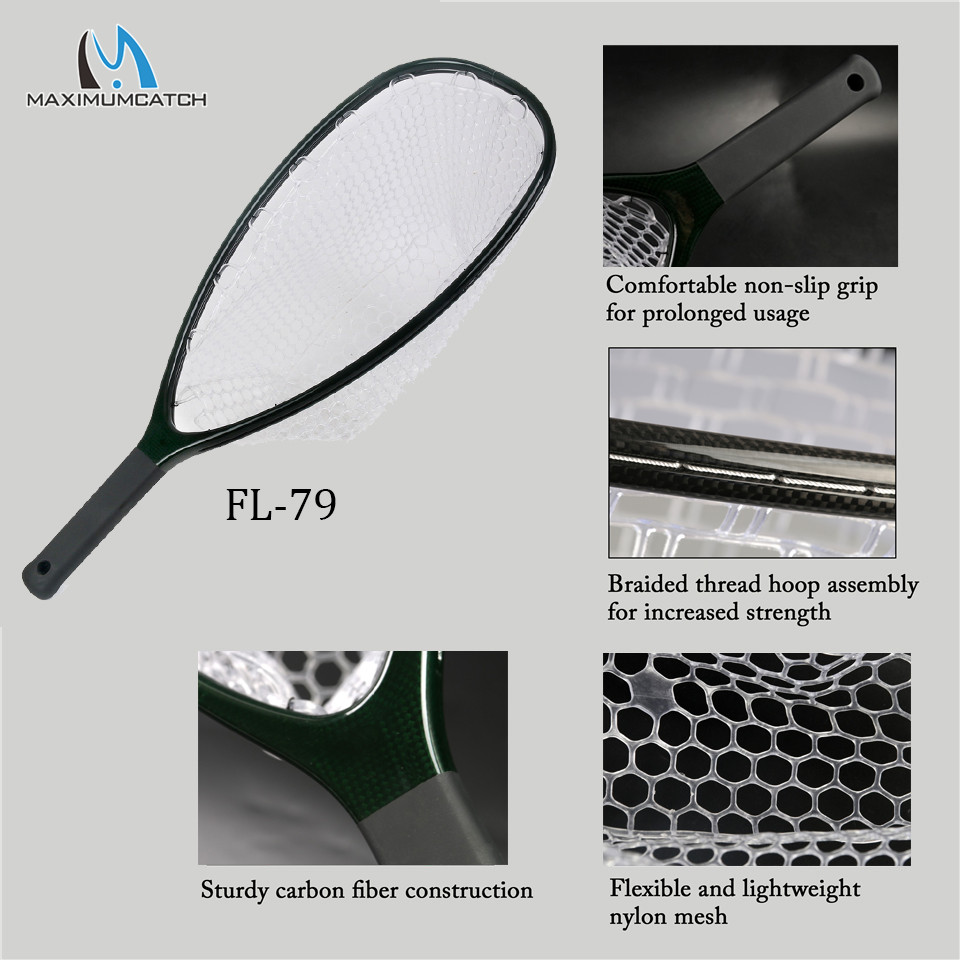 Maximumcatch Fly Fishing Landing Net Solid Carbon Fiber Frame Nomad Hand Strong Light Clear Rubber Net