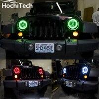 For Jeep Wrangler 2007 2016 LED Perimeter Headlight Rings Halo Multi Color RGB Angel Demon Eyes