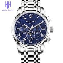 Holuns negocio dial grande de Acero Inoxidable de lujo relogios masculino, Mecánico Automático hombre reloj deportivo Multifuncional 2016