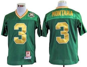 Discount Notre Dame Fighting Irish Joe Montana green jersey american football Men's size