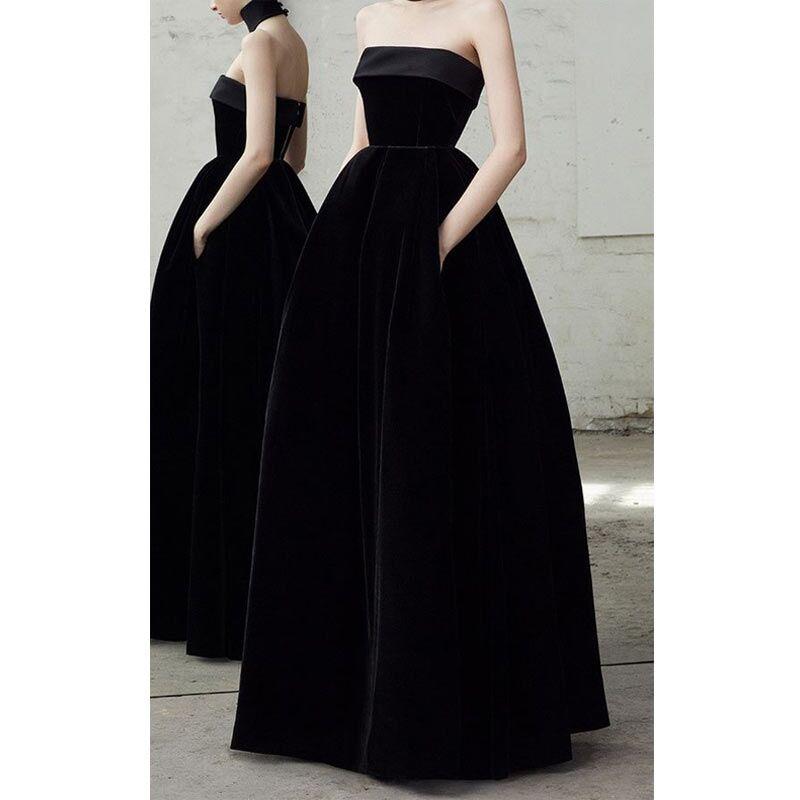 US $199.0 |2019 New Black Strapless Velvet