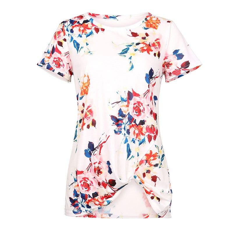 Summer 2019 Irregular Women Top Short Sleeve Printed Long Shirt Plus Size Women Clothing Fashion Streetwear Female Summer Tops in T Shirts from Women 39 s Clothing