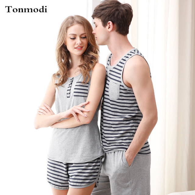 f85760490ad8 Pajamas for Women Summer Love Men Vest Pyjamas 100% Cotton Stripe Pajama  Sets Couples Matching Pajamas
