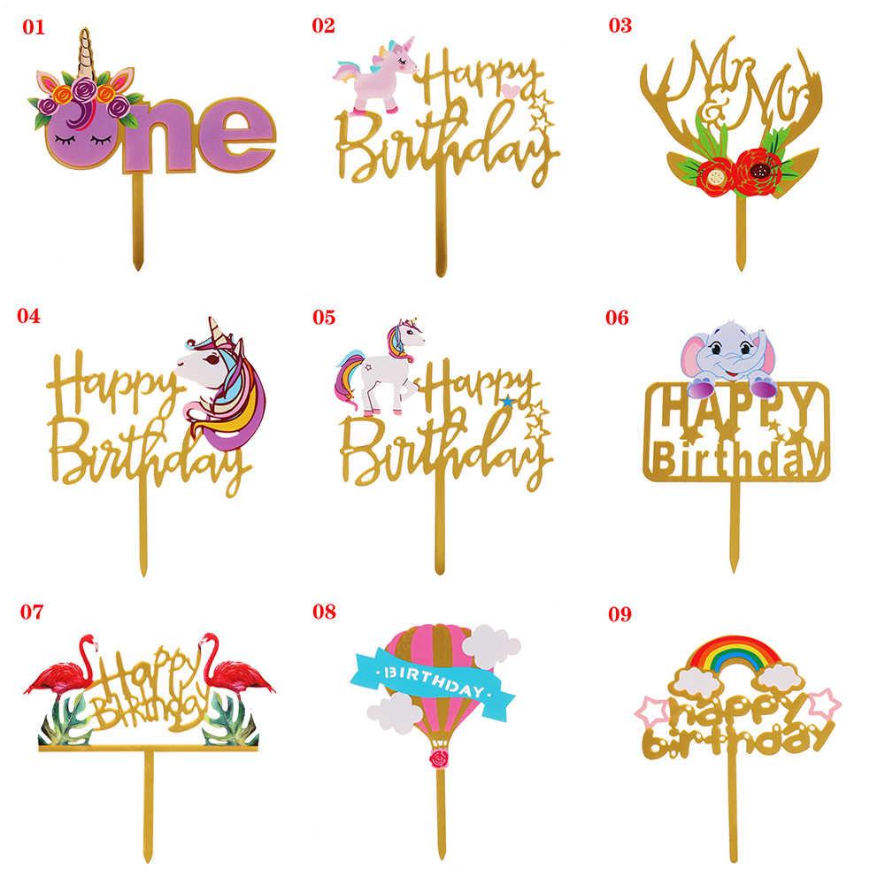 1 шт. красочный акриловый единорог; Фламинго слон цветок шарик для дня рождения торт Топпер вечерние украшения десерт прекрасный подарок