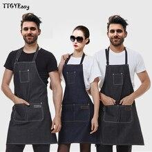 2017 neue Schürzen Denim Einfache Antifouling Uniform Unisex Erwachsene Schürzen für Frau männer Männliche dame Küche Kochen Schürzchen DJ079