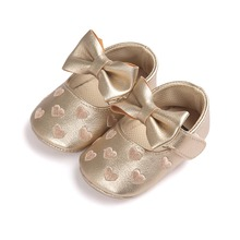 2017 pu leather golden infant shoes for newborn baby girls boys with age 0~18 month bx305