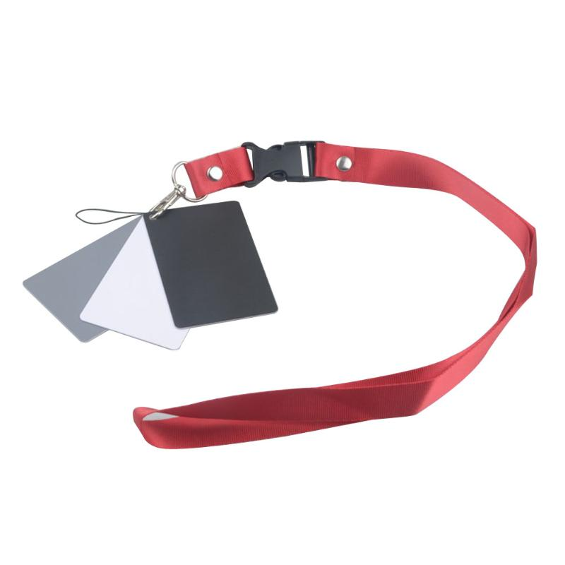 3 in 1 White Black Grey Balance Cards 18 Degree Gray Card S Size with Neck Strap Photography Accessories for Digital Cameras цена