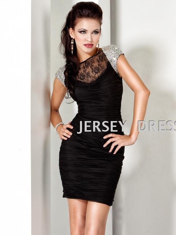 free shipping 2014 customized black short crystal vestidos formales brides maid   dresses   cap sleeve sexy lace   Cocktail     Dresses