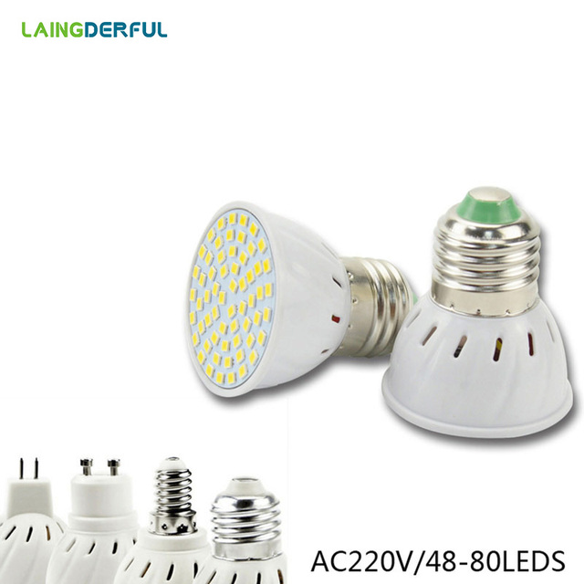 LED Spotlight E27 E14 MR16 GU10 Led Lamp 2835 SMD Led Bulb 48 60 80 Leds White/Warm White Bombillas Spot light Lampada