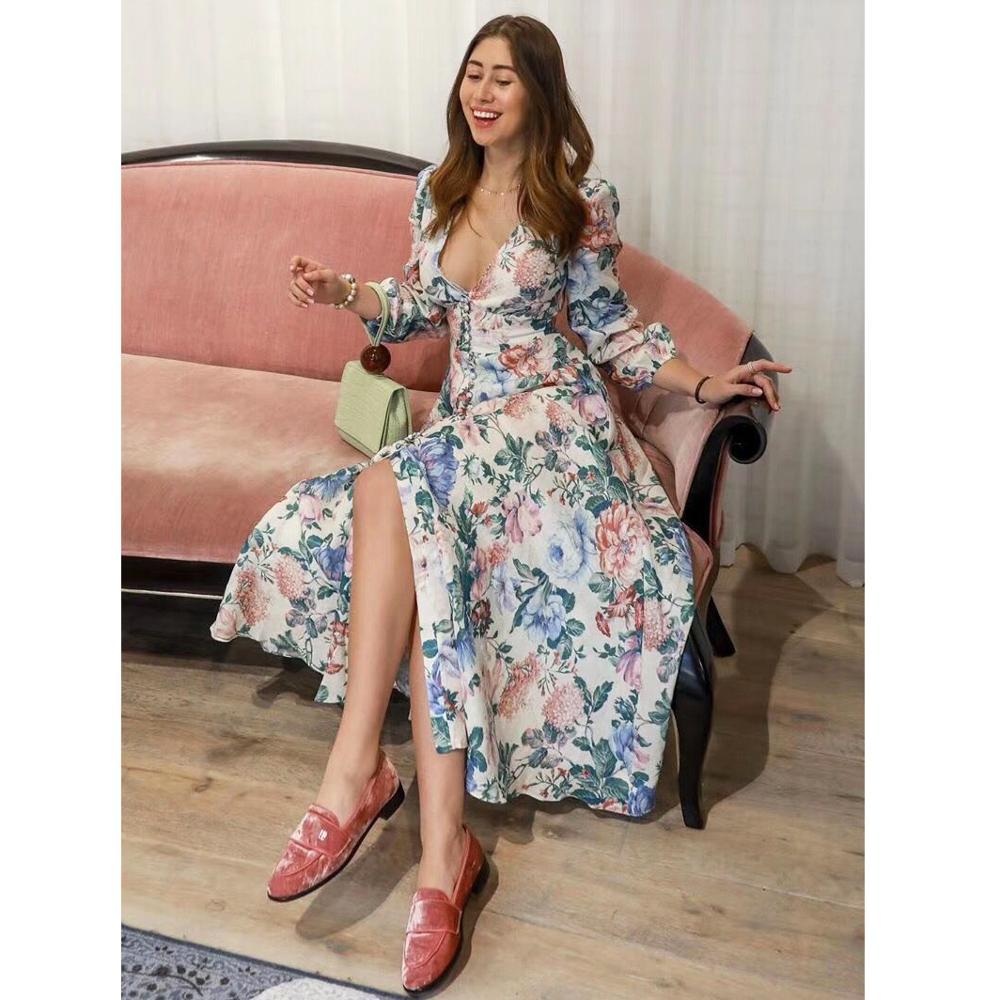 2019 summer autumn linen flower print boho beach dress long sleeve sexy V neck ladies dress