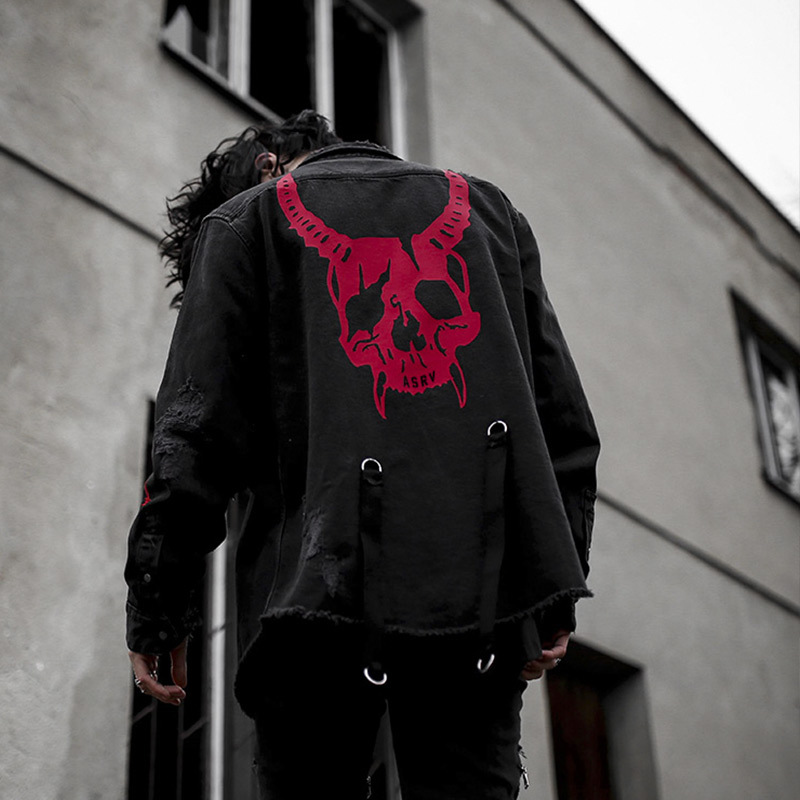 2019 New Men's Cowboy Jacket Spring Summer Skull Print Windbreaker Casual sweethearts Jacket Coat Outwear Bomber jacket Denim