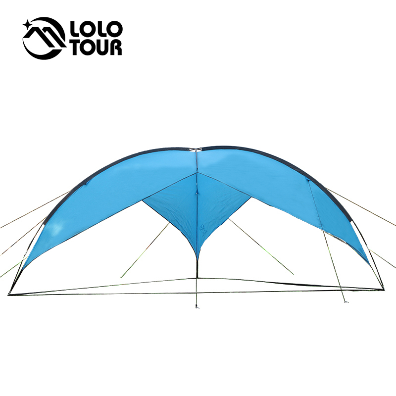 480*480cm Ultra-Large Pergola Beach Camping Tarp Tent Awning Fishing Party Outdoor Roof Waterproof Ultralight Blue Sun Shelter large outdoor camping pergola beach party sun awning tent folding waterproof 8 person gazebo canopy camping equipment