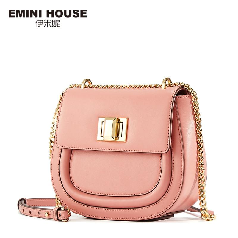 EMINI HOUSE Fashion Saddle Bag 5 Colors Split Leather ladies Chain Bag Women Shoulder Crossbody Bags For Women Messager Bags fashion house