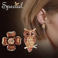 La SPECIALE Nuovo sterlina Di Modo 925 ago d'argento orecchini asimmetrici femminile dell'orecchio Del Chiodo piatta della pelle orecchini per le donne S1987E