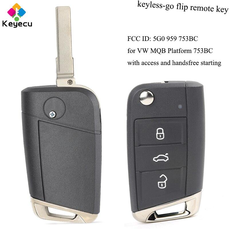 Clé de voiture télécommandée KEYECU sans clé avec puce ID48 434 MHz pour Volkswagen Golf VII G * TI pour Skoda Octavia A7 2017