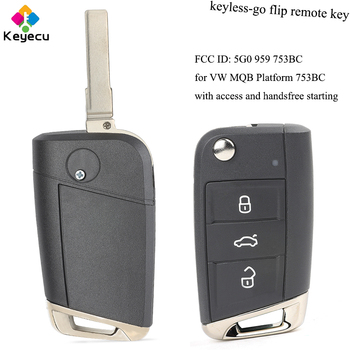 KEYECU Keyless-Go Flip Remote Control Car Key With 434MHz ID48 Chip - FOB for Volkswagen Golf VII G*TI for Skoda Octavia A7 2017