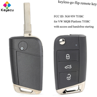 KEYECU Keyless Go Flip Remote Control Car Key With 434MHz ID48 Chip FOB for Volkswagen Golf VII G*TI for Skoda Octavia A7 2017