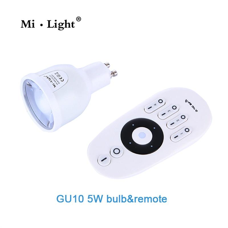 Milight WIFI GU10 Dual white dimable 2.4G led spot light 220V 5W LED Bulb control by remote mi.light bulb series keyshare dual bulb night vision led light kit for remote control drones