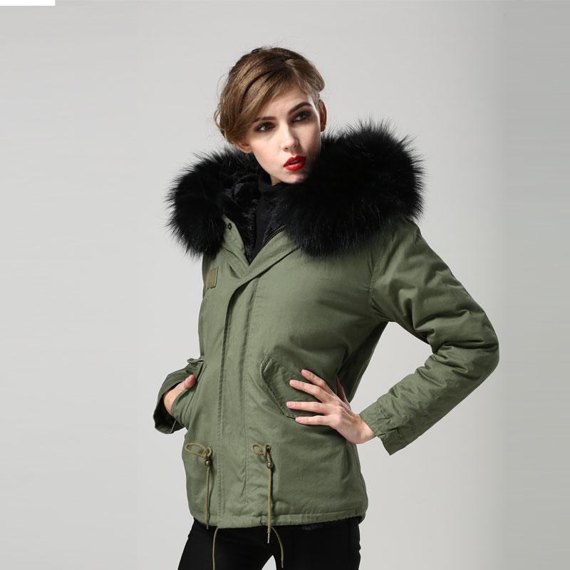 Coupe Armée Fourrures Doublé vent Faux Femmes Style Manteau Veste Jzayv Noir Courte Vert 2019 qPEAwv0B