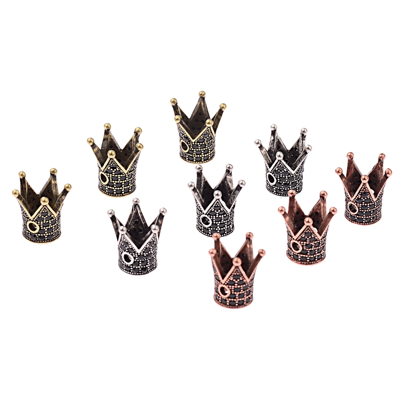 Beads Genteel Amader 2018 Antique Crown Head Shape Beads Diy For Jewelry Making Bracelet Black Zircon Accessories Wholesale Bd513