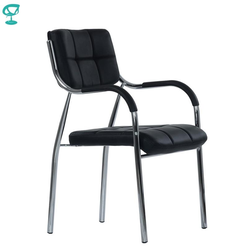 95453 Barneo K 11 офисное кресло для посетителей черное эко кожа хромированные ножки мебель для офиса стул для посетителей стул для визитеров крес