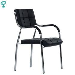 95453 Barneo K-11 silla de oficina para visitante Barneo negro eco-cuero cromo piernas silla popular modelo envío gratis en Rusia