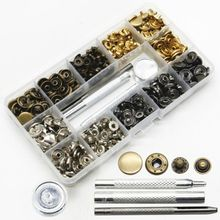 100 Sets Snap Fasteners Kit 4 Colors Metal Buttons Press Studs with Pieces Fixing Tools for Leather, Coat, Down Jacket