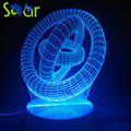 3D criativo luz colorida noite CONDUZIU a lâmpada de mesa USB luz 3D estereoscópico 16 chave de controle remoto
