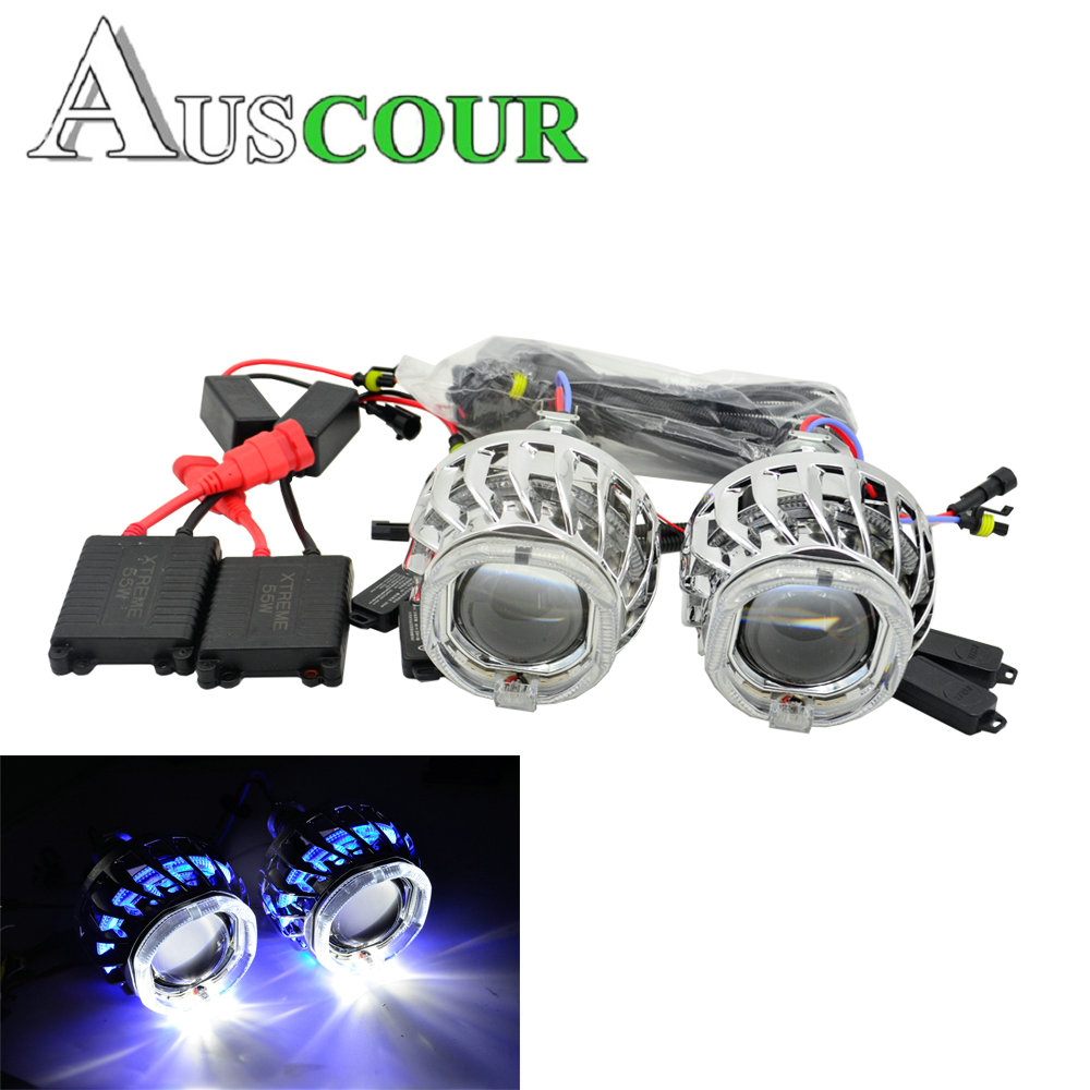 hid bixenon car projector lens 2.5 suqare dual day running led angel eyes hid xenon bulb relay harness h1 h4 h7 white blue 2 5inch bixenon projector lens with drl day running angel eyes angel eyes hid xenon kit h1 h4 h7 hid projector lens headlight