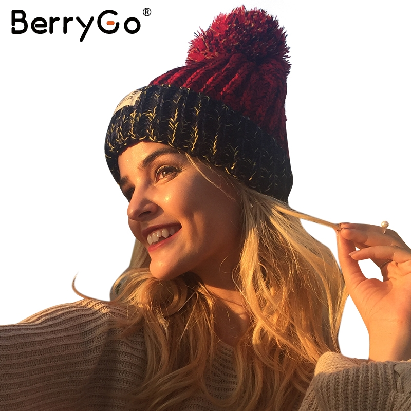 BerryGo Casual wool yarn ball knitted skullies beanies Winter warm cool hat cap 2017 Women streetwear autumn female beanie hat wool felt cowboy hat stetson black 50cm